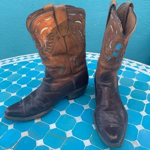 VINTAGE 40s 50s ACME COWBOY BOOTS TURQUOISE INLAYS